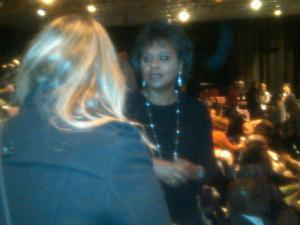 Anita Hill greets an audience member before the screening of ANITA.