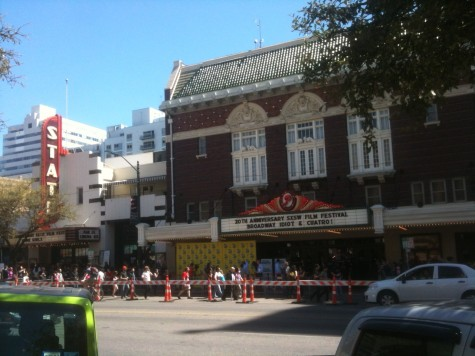 Neighboring Stateside and Paramount Theaters on Congress Avenue during SXSW 2013.  Photo by Eric Allen Hatch.