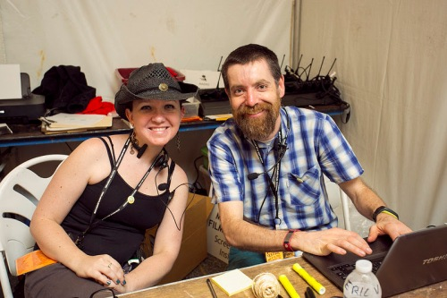 MFF Volunteer Coordinator Eric Voboril (right) at Volunteer Headquarters with his assistant Kirsten Walsh (left) during the 2013 Maryland Film Festival.