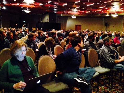 Audience attending Keynote Speech at Arthouse Convergence 2015. Photo by Jed Dietz.